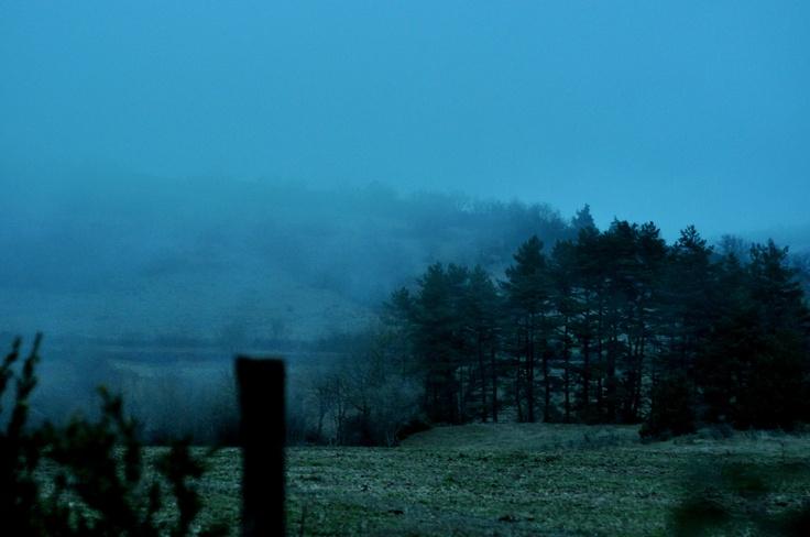Foggy country landscape - Aveyron