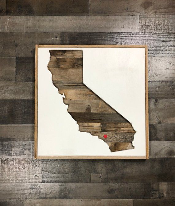 State Shape Reclaimed Wood Wall Art California Decor Farmhouse Style Sign In 2018 Add Your Etsy Go