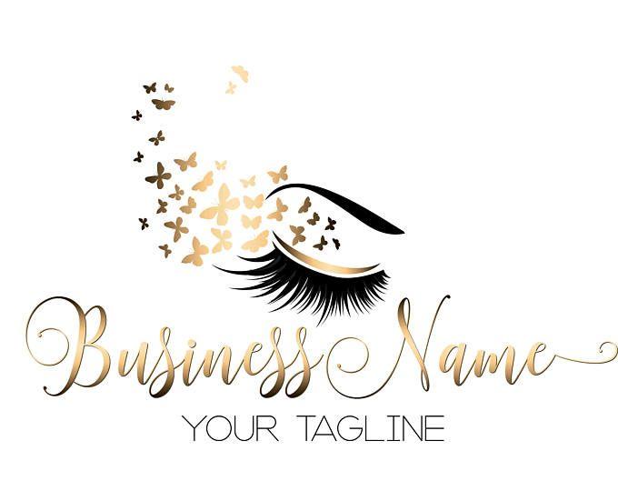 Diseño de logotipo personalizado, latigazo con el logo de la mariposa, ojo oro pestañas belleza insignia, logo de maquillaje, diseño de la insignia de oro de pestañas, lash de logo de belleza oro