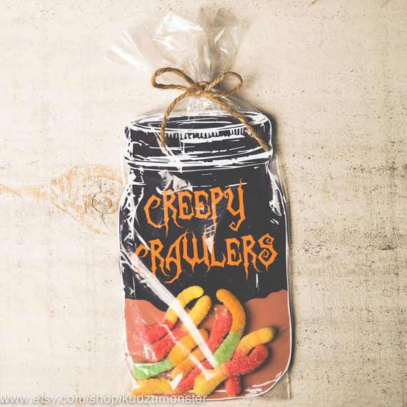 Halloween party favors for gummy worms! INSTANT DOWNLOAD printable bug candy gift DIY mason jars by KudzuMonster