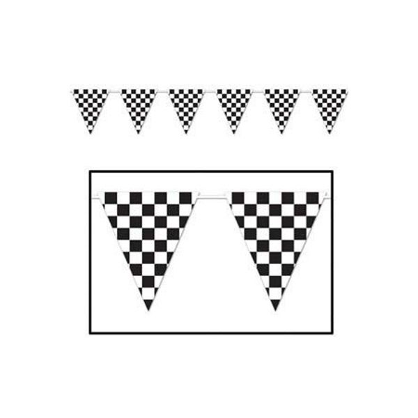 Beistle Checkered Flag Banner Racing Cars Party - 3.7m