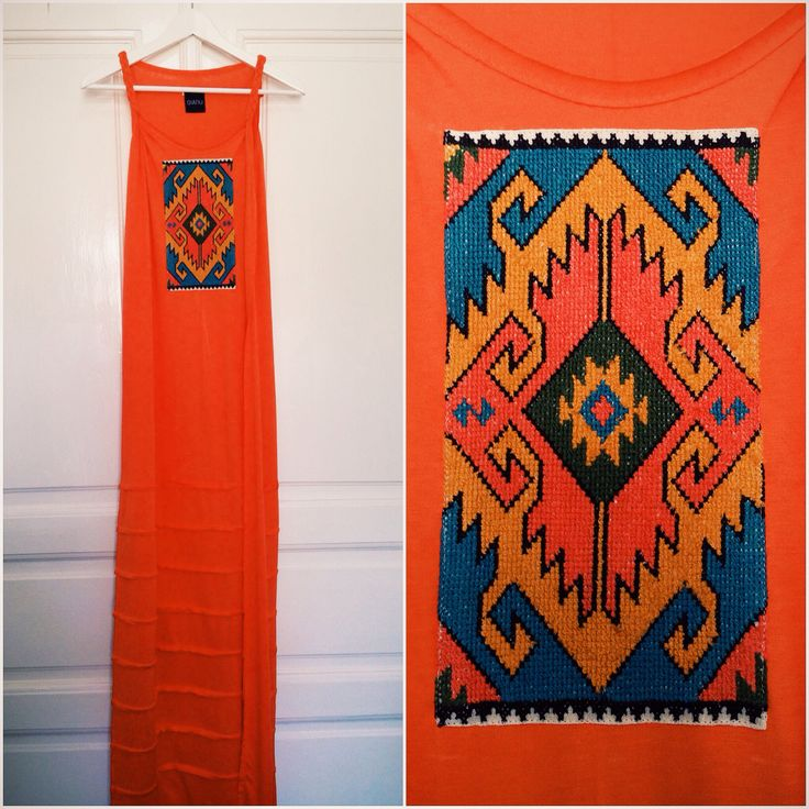 Jersey dress, handmade embroidery, unique, traditional design, contemporary design, fashion, orange.