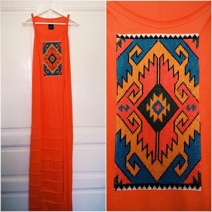 Jersey dress, handmade embroidery, unique, traditional design, contemporary design, fashion, orange.