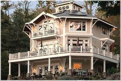 Octagon House Plans Home Vintage blueprint design custom building book Octagonal