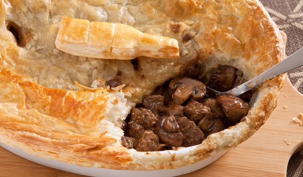 Steak and Ale Pie. My husband LOVES this. Packed with steak, beer, mushrooms and onions. Make it for your man....SERIOUSLY.