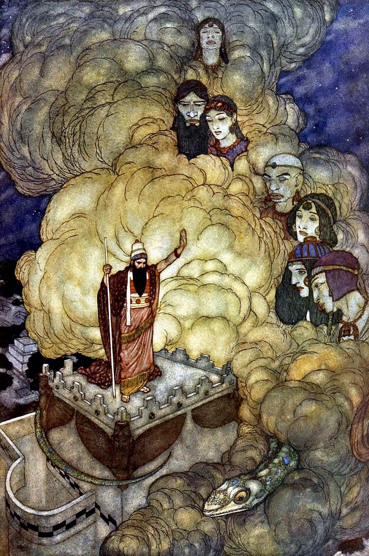 """When having brought into submission ... (from 'The Fisherman and the Genie'). """"Stories from the Arabian Nights"""" (1907) illustrated by Edmund Dulac"""