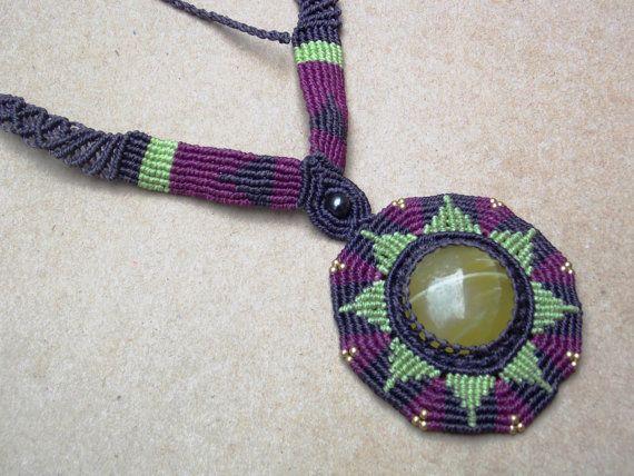 Sunburst Macrame Necklace/Onyx/Green Stone/Neon by SpiritYSol