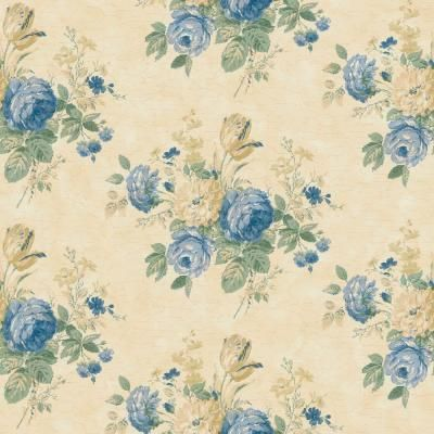 The Wallpaper Company 8 in. x 10 in. Blue and Yellow Victorian Floral Bouquet Wallpaper Sample-WC1282680S - The Home Depot