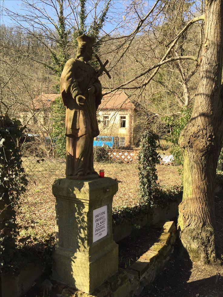 Saint John statue guarding the Sarka valley, Prague-Dejvice.
