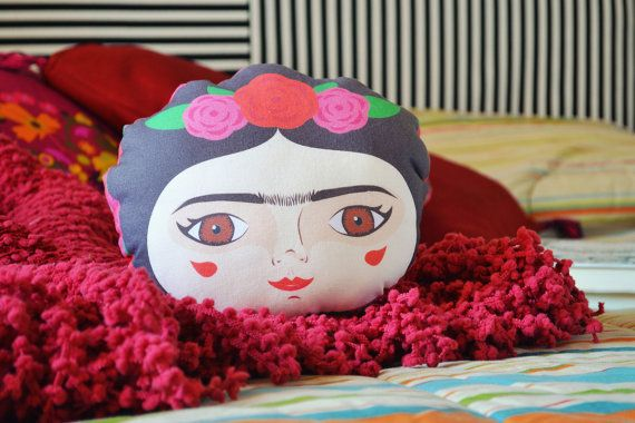 Frida Kahlo mini cushion / flowers / pillow / Home decor