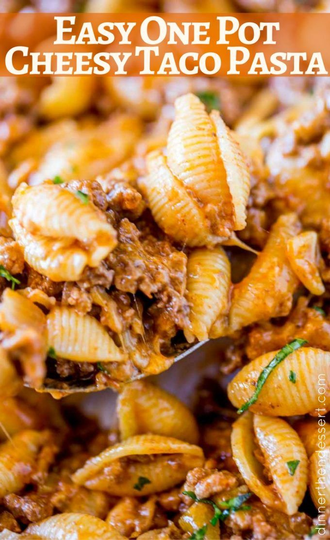 A giant bowl of Cheesy Taco Pasta is the perfect quick dinner with just five ingredients!