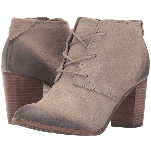 TOMS Lunata Lace-Up Bootie (Desert Taupe Burnished Suede) Women's... ($119) ❤ liked on Polyvore featuring shoes, boots, ankle booties, suede bootie, suede boots, suede booties, suede ankle boots and lace up bootie