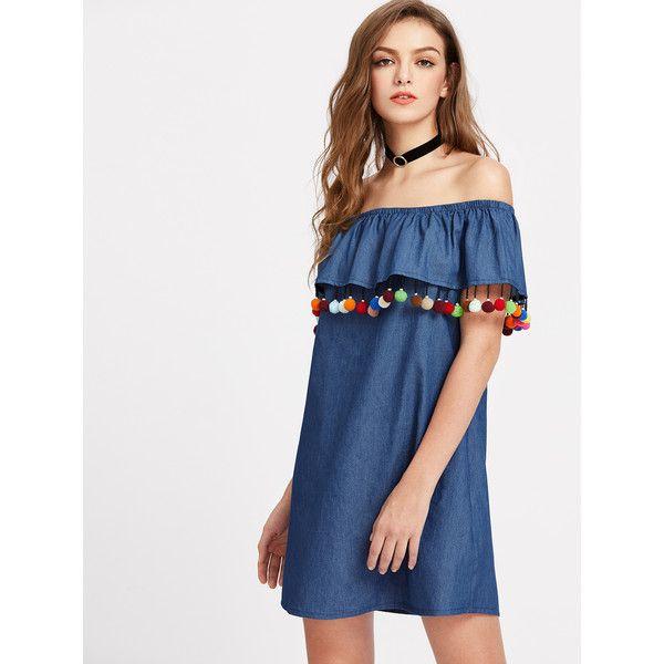 SheIn(sheinside) Pom Pom Trim Flounce Bardot Neck Chambray Dress (94 CNY) ❤ liked on Polyvore featuring dresses, blue, short-sleeve shift dresses, sexy blue dress, off-the-shoulder ruffle dresses, short blue dress and ruffle sleeve dress