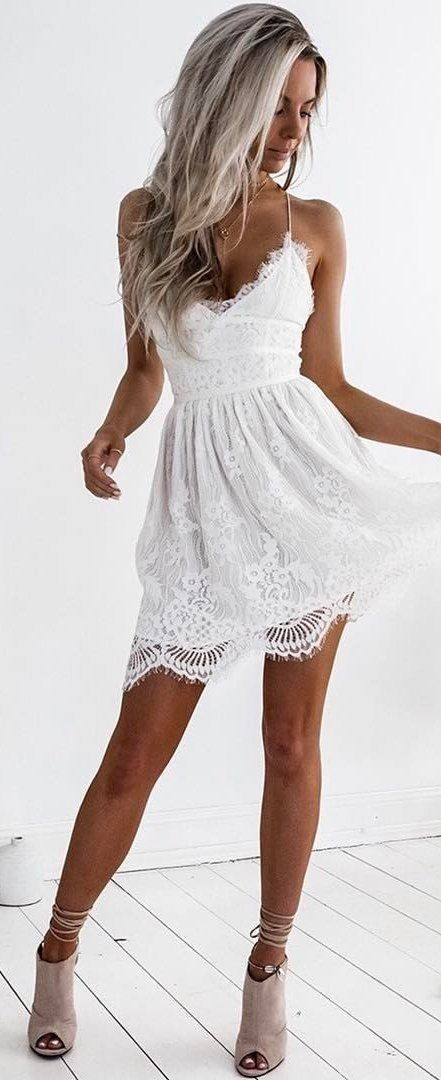 summer outfits White Crochet Lace Little Dress + Grey Suede Pumps