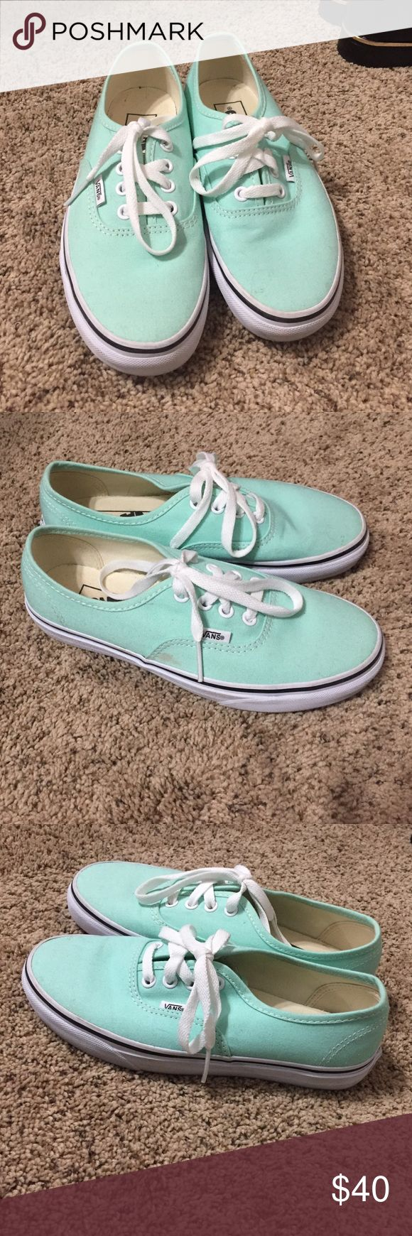 Mint green vans Barely worn mint green vans! In almost perfect condition! Vans Shoes Sneakers