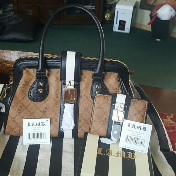 L.A.M.B. Absolutely beautiful set. L.A.M.B. bag and wallet. Brand new condition. Will take REASONABLE offers L.A.M.B. Bags Wallets