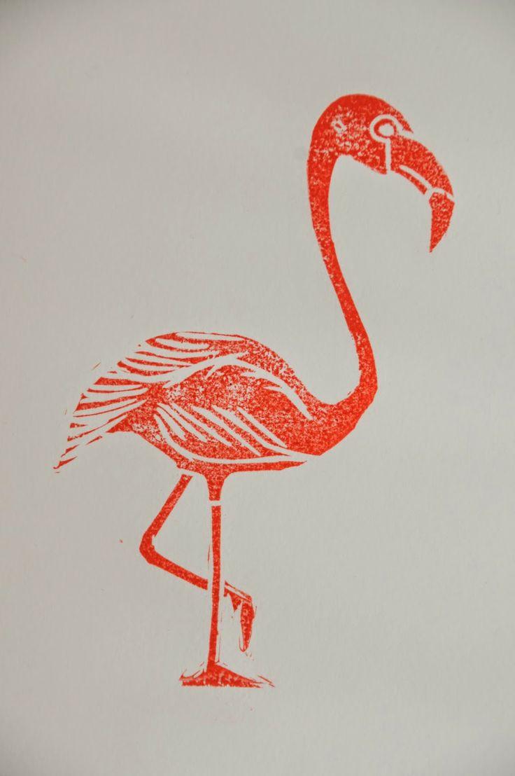 Jolanda Althuis #illustratie #linoleum #snede #stempel #afdruk #flamingo