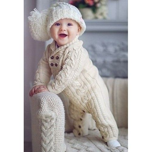вязаный набор шапочка и комбинезон вязаная детская одежда