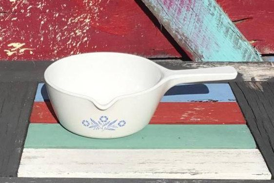 1970's Vintage Corningware Cornflower Blue Saucepan with Spout 2.5 Cups Corning Ware | Minu-ette Pan Dish Skillet Pot | P-89-B by ShowMeShabby on Etsy