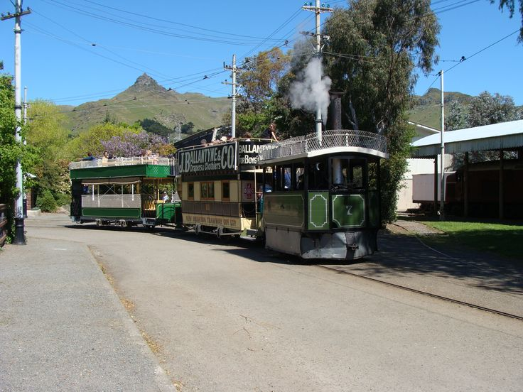 Kitson no. 7 hauling two trailers around the township loop at the Ferrymead Heritage Park.
