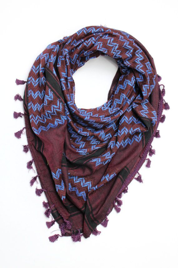 The Real thing, from Hebron - Palestine Cotton Keffiyeh with real embroidery Serves as a fashion accessory as well as a warming scarf Purple (Eggplant) kufiya, Sky-Blue zigzag Palestinian pattern embroidery, 4 edges with Purple tassels Approx 120 x 120 cm / 47 x 47