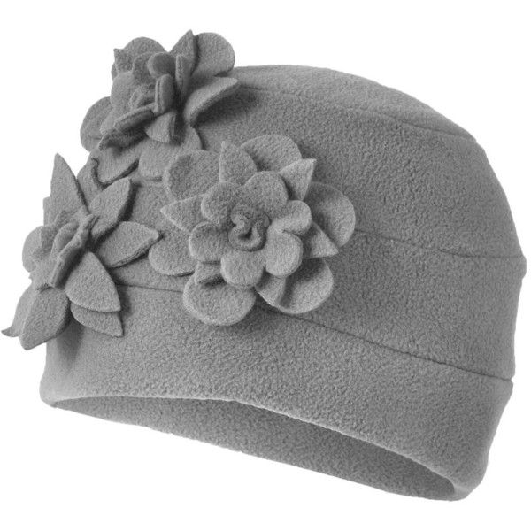 Grey flower fleece hat ($10) ❤ liked on Polyvore featuring accessories, hats, grey, women's accessories, women+accessories, mantaray, grey hat, fleece hat, gray hat and flower hat