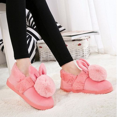 6f1013028 Womens Warm Fluffy Cute Bunny Rabbit Plush Indoor Home Slippers Pink