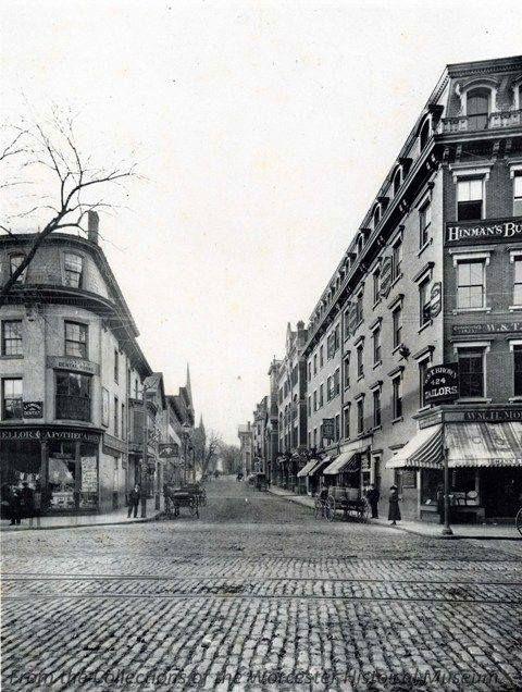 Pleasant Street from Main Street, 1898, Worcester Massachusetts.