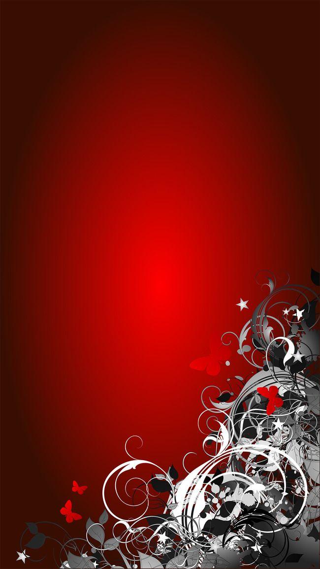 Fall Flowers Wallpaper خلفية حمراء ريد ميل زخارف نباتية رمادي فراشة فريم بسيطة