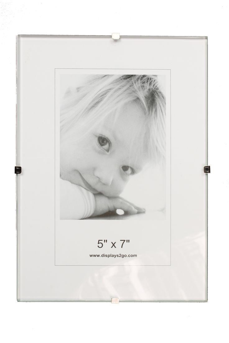 5 x 7 Frameless Picture Frame for Table or Wall, with Side Clips - Clear Glass