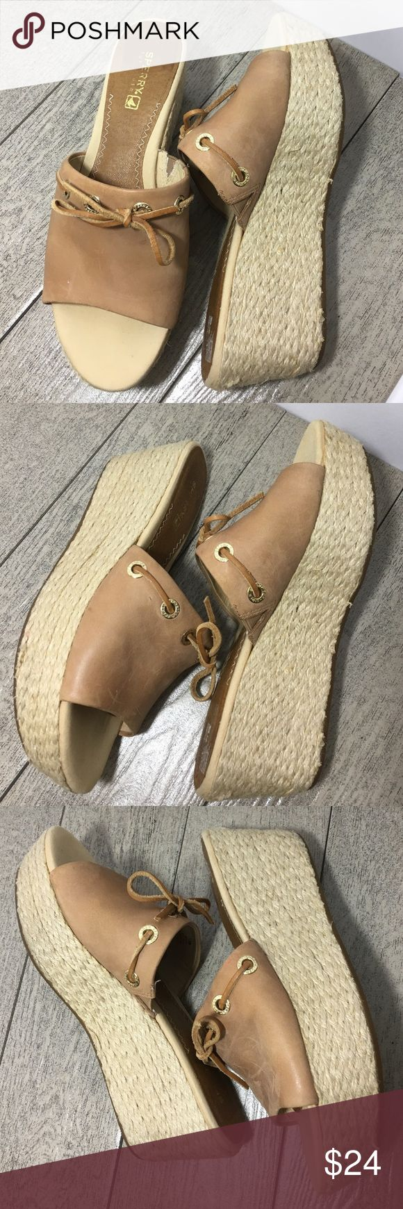 """Sperry⛵️ Tan Brown Leather Upper Slip On Wedge 7.5 Height: 2.5"""" Wedge . One mark at rear of left shoe (last photo), one red scuff on left shoe (3rd photo)   ❣️Thank you for your business! 👍🏼I love reasonable offers!  🏃🏻 Next business day shipping!  ✅Check out my closet for all the deals!  💰Bunde 2+ and save 10%  ⛔️Smoke free, we have 1 🐶 but he is no             where near the items  🚫No trades, no outside offers, no modeling Sperry Top-Sider Shoes Wedges"""