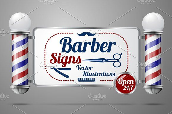 Barber poles and signs vector set by Tashal on @creativemarket