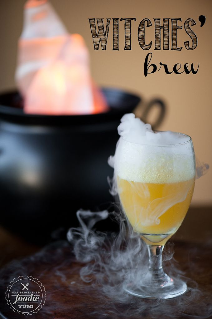 This sweet and sparkling Witches' Brew made with fruit juice is a fun Halloween party drink for all ages and can easily be made into an adult cocktail too. {Self Proclaimed Foodie}