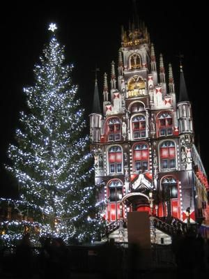 Gouda at night during Christmas season
