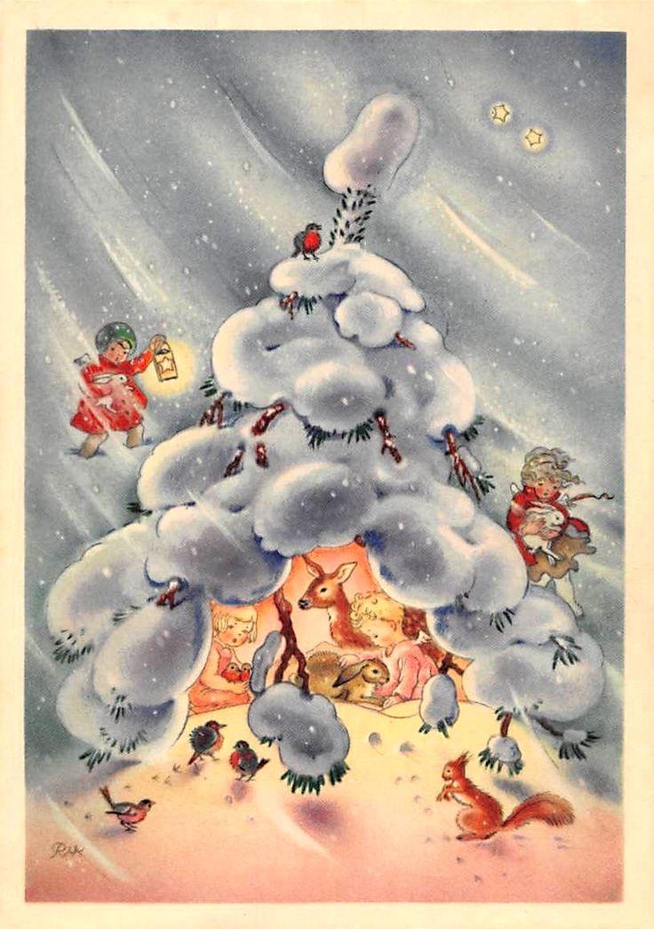 Charlotte Baron (RAA) - Vintage German Christmas Postcard Angels  helping animals in winter snow