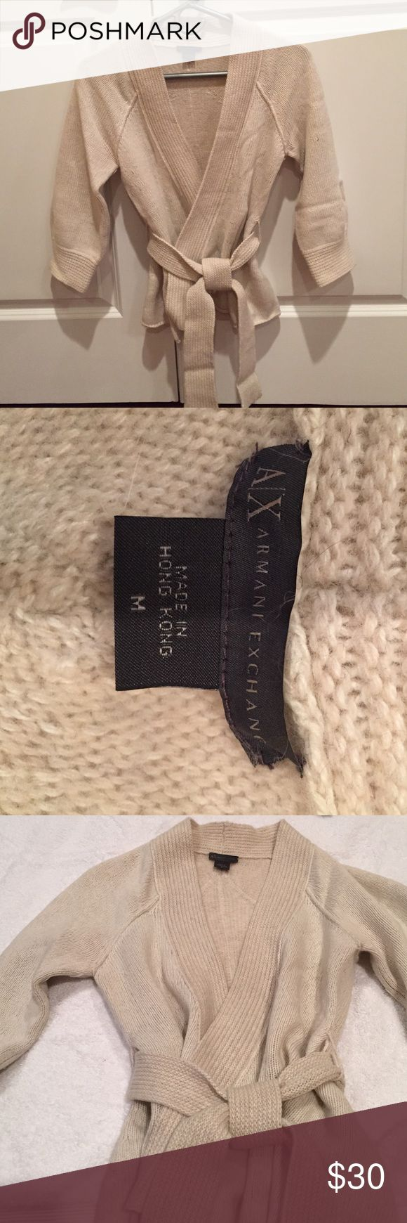 Gorgeous Armani Exchange wrap sweater Rich beige and cozy warm wrap sweater/cardi with tie waist. Looks awesome with a lace cami or slim fitted turtleneck and tall brown boots with skinnies. Armani Exchange Sweaters Cardigans