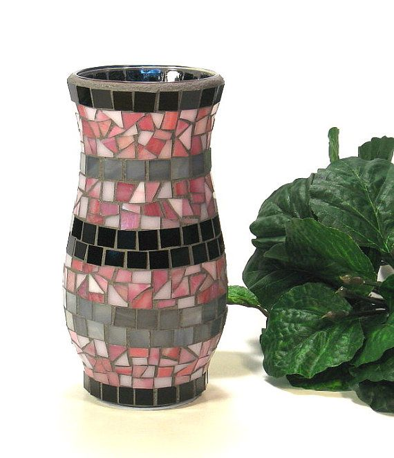 Stained glass mosaic vase pink black and by threesisterscandles, $25.00