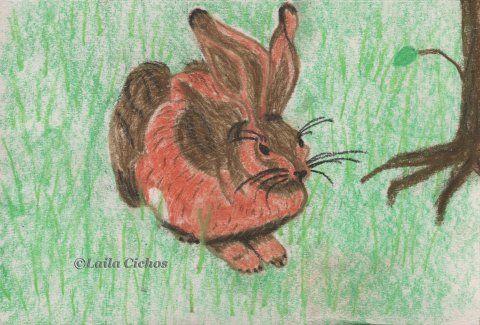 """""""Hare"""". Pastel on paper. Pastel på papir."""