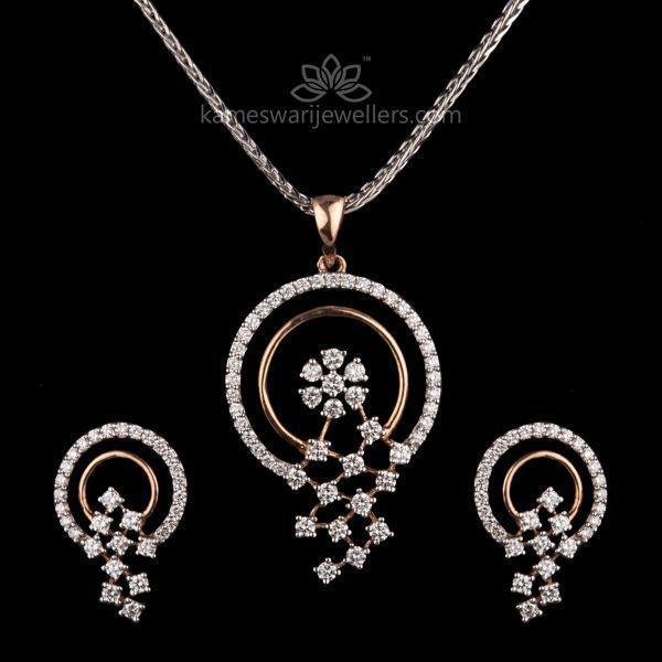 Fleur Diamond Pendant Set