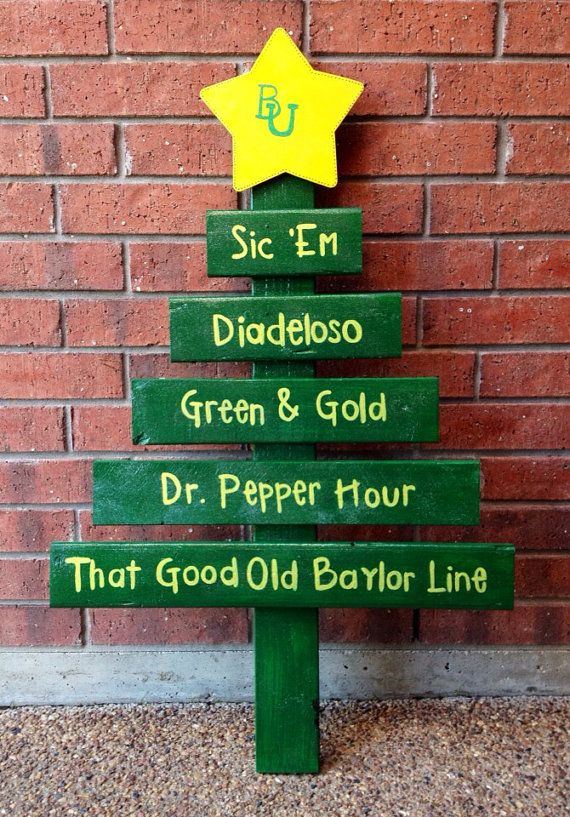 Handmade Wooden #Baylor Bears Inspired Christmas Tree: In Bears, Baylor Apt, Baylor Bae, Baylor Axo, Baylor Stuff, Baylor Dorm, Baylor Bears Diy, Baylor Art, Baylor Baby