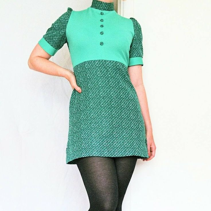 A 1960s mini-dress in a beautiful turquise-mint colour