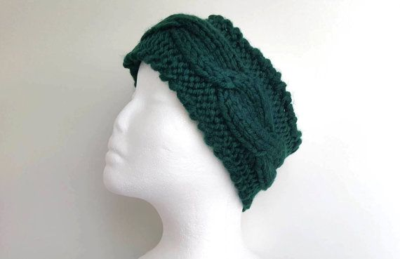 Fascia paraorecchie, Fascia per capelli Headband, lavorata a mano a maglia, filato morbido acrilico (LANA VEGAN) colore verde scuro, PRONTA by ItaliArtisan #italiasmartteam #etsy