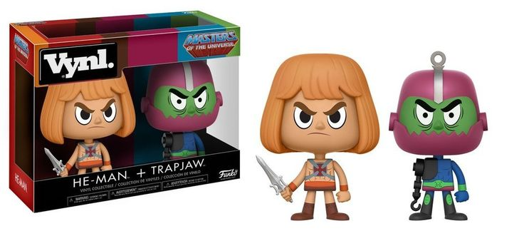 Funko Vynl He-Man and Trapjaw 2 Pack 2. From Masters of the Universe, He-Man and Trap jaw, as a stylized VYNL 2 pack from Funko!. Figures stand 3.75 inches and comes in a window display box. Check out the other Masters of the Universe figures from Funko! Collect them all!.
