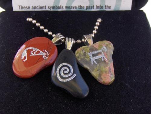 Southwestern Rock Art Petroglyph Stone Sterling Necklace | eBay
