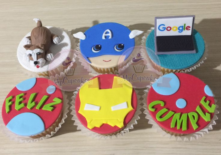 Cupcakes cumpleaños. Cupcakes perro. Cupcakes snauzher. Cupcakes iron man. Cupcakes capitan america. Cupcakes computador