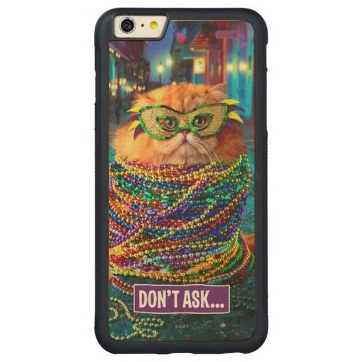 Funny Cat with Colorful Beads at Mardi Gras. Regalos, Gifts. #carcasas #cases