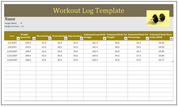 Workout Log Template  Logtemplate