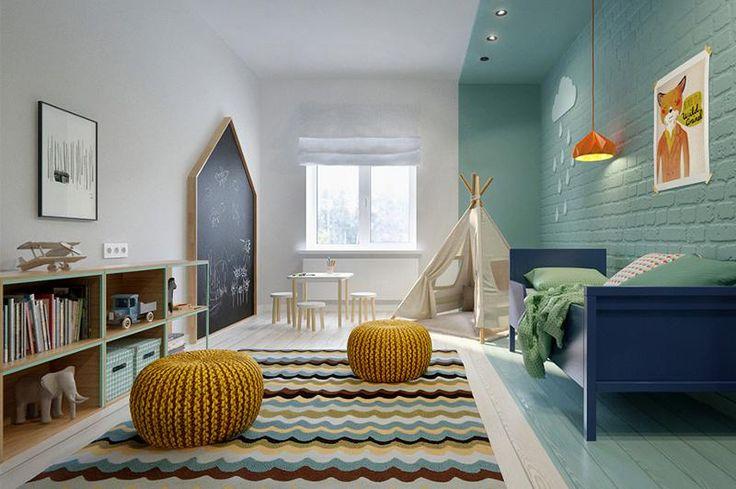 Wahnsinnig tolles Kinderzimmer für einen Jungen mit Türkis, Blau und Braun