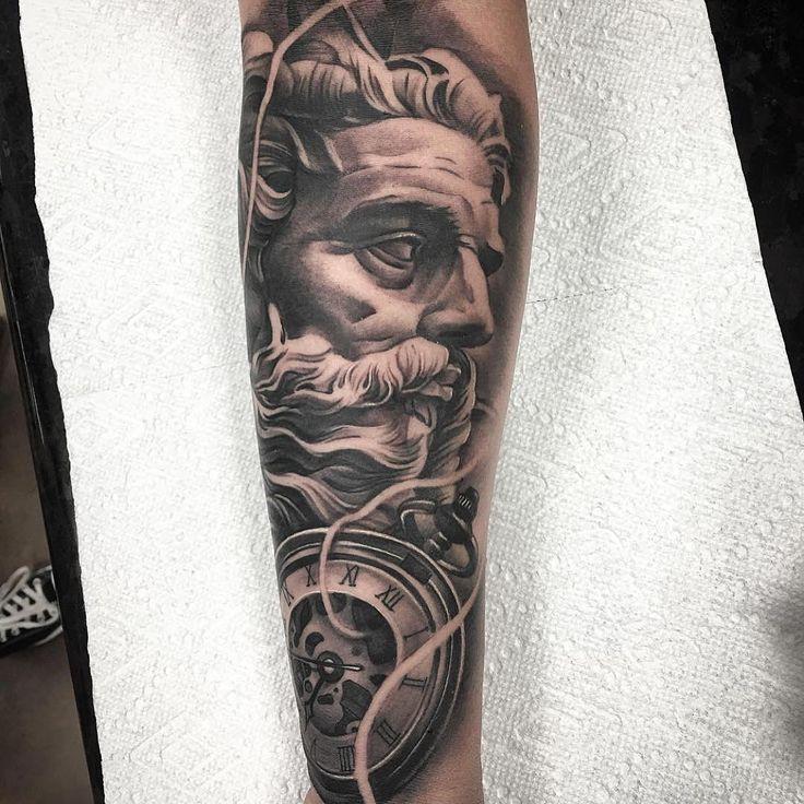 Amazing artist Kurt Vanderjagt @tattoosbykurt from Inkslingers awesome clock Poseidon tattoo! ...