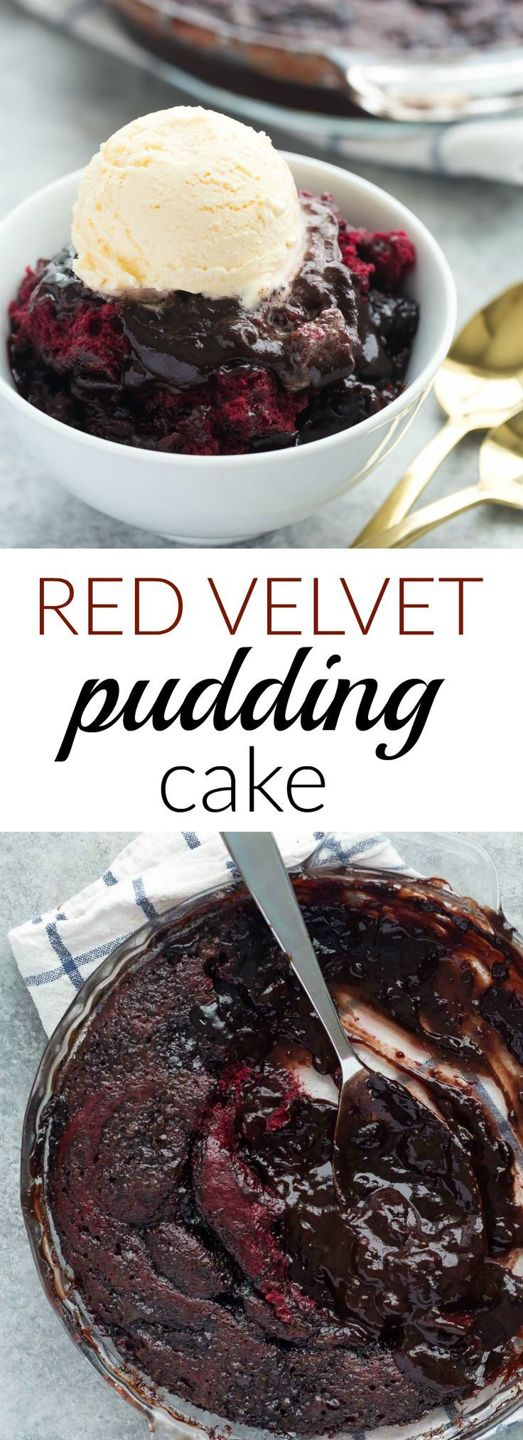 This RED VELVET Pudding Cake is so easy with only 10 minutes prep — it has a chocolate cake base and it makes its own hot fudge sauce in the oven as it bakes and I highly recommend slathering it with a scoop of ice cream! Includes a how-to recipe video.
